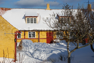 Yellow House with a Car Buried in the Snow
