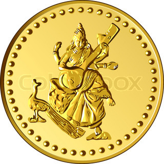 shiny gold coin with the image of dancing and playing a musical instrument of Indian four-armed Shiva