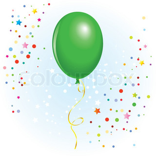 Green balloon with dangling curly ribbon in vector format