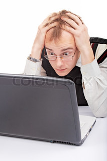 emotional man in office with laptop on white background