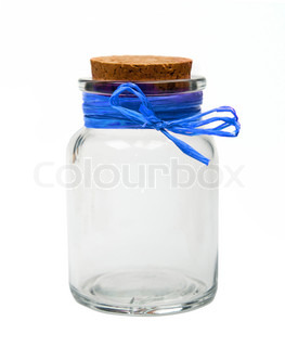 empty jar with blue ribbon isolated on a