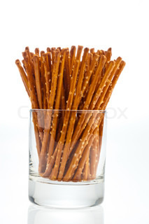 a jar of pretzels as a snack for in between