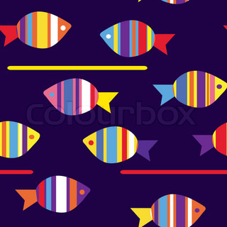 Fishes funny seamless pattern