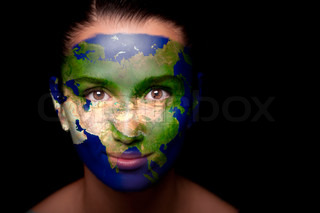 Girl with a painted map of Asia on his face Closeup