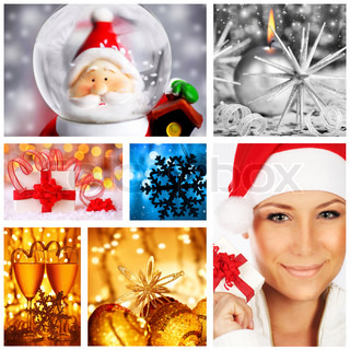 Winter holidays concept collage with collection of colorful decorations & ornaments
