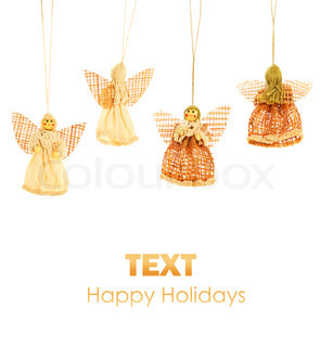 Angels holiday border, Christmas tree ornament & winter decoration isolated on white background