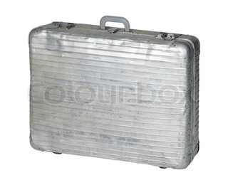 studio photography of a old used metal case isolated on white with clipping path