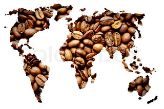 Coffee map made of coffee beans