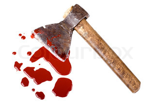 instrument of crime axe in puddleblood, lie in white background, isolated
