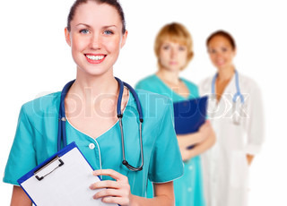 Three friendly healthcare workers on white background