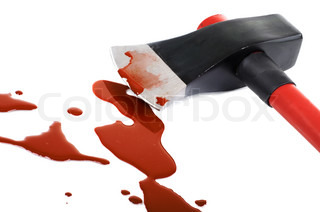 instrument of crime axe close in puddleblood, lie in white background, isolated