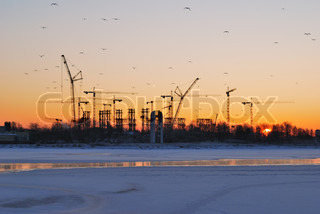 Winter sunrise on the Gulf of Finland in St.Petersburg