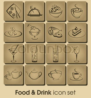Food and drink vector icon set Collection Restaurant Icons