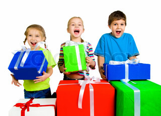 little kids with a gifts over white background