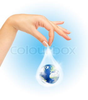 Drop of water with Earth inside and hand The symbol of Save Planet