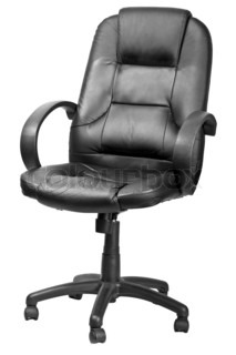 The office chair from black imitation leather Isolated
