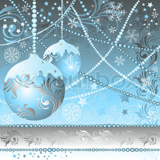 Christmas frame with balls, stars and snowflakes vector