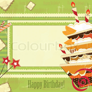 greeting card with a big chocolate cake in a vintage style