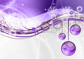 christmas background with the purple balls