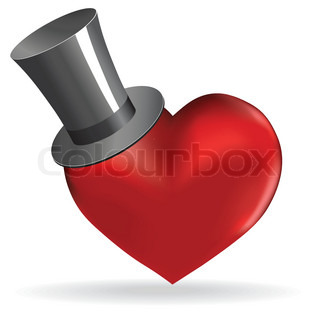 Love heart in hat valentine cute wedding background