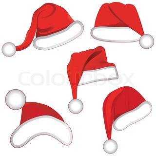 Christmas set collection hat of santa for your design Vector llustration
