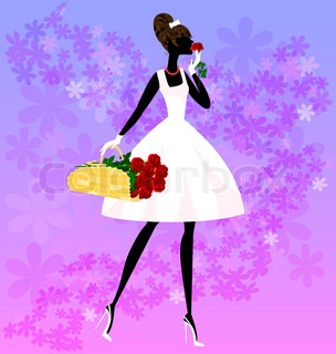 on an abstract floral background is stylish girl in white with a basket of red roses