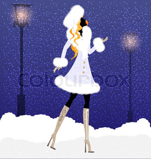 on an winter background of the city is stylish lady and snowflakes