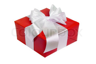 beautiful red gift with white ribbon isolated on white