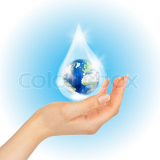 Drop of water with Earth inside and hand on white The symbol of Save Planet