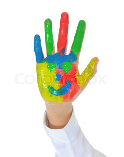 Children's hand in the paint Isolated on white background
