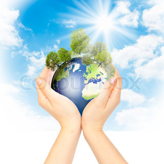 Hands and Earth Concept Save green planet Symbol of environmental protection