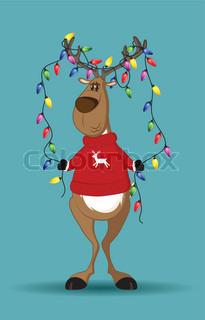 Reindeer in red jumper holding a line of light-bulbs which are tangled in its antlers