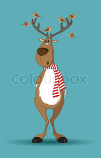 Reindeer with red scarf and birds sitting on its antlers