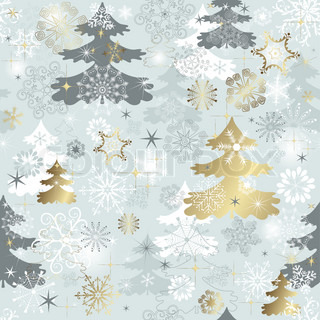 Winter seamless pattern withvaried snowflakes, christmas trees and gold stars vector