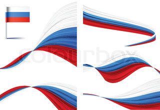 Vector illustration of national russian flags