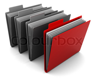 3d illustration of folder icons with one selected
