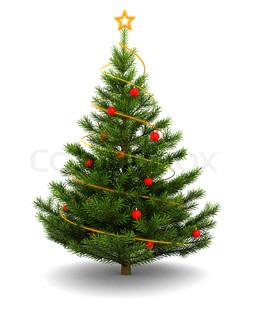 3d illustration of christmas tree, over white background
