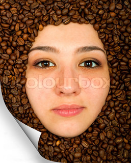 Coffee beans and face of beautiful young woman