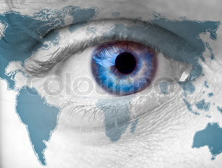Close up Man's blue Eye on the world
