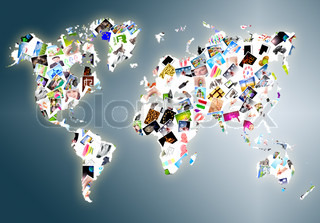 World map made of a lot photos