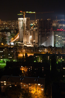 Night Kiev with new buildings and counstructions, Ukraine