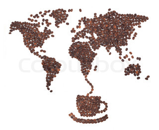 Coffee map made of beans on white background