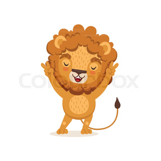 Cut kid lion cartoon character wearing shorts on suspenders and cute happy lion cartoon character standing with paws up safari animal with lush mane and voltagebd Images