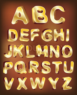 3d gold alphabet Vector design element set