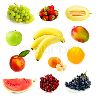 Collection of different fruits on the white