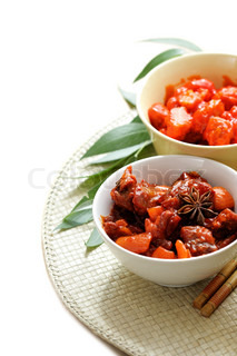 Chinese dishes isolated over a white background