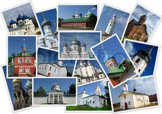 Collage with several shots with orthodox russian churches on white background