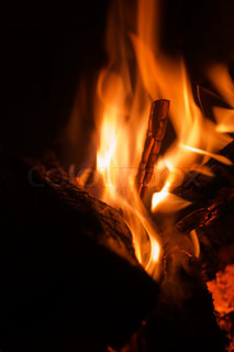 Closeup fireplace with burning fire woods