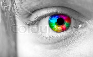 Colourful man's Eye close up