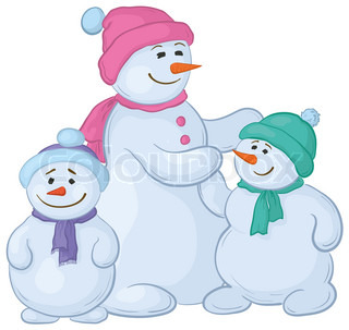 Cartoon, snowmens mother and children, isolated white background